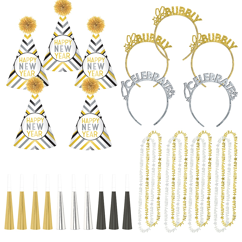Black, Gold & Silver New Year's Eve Party Kit 30pc Image #1