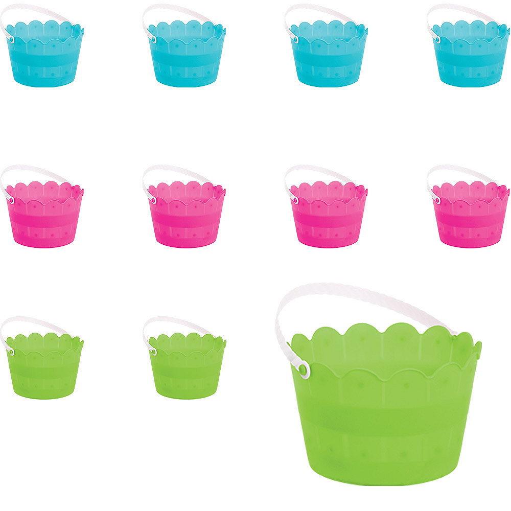 Blue, Green & Pink Plastic Easter Buckets 12ct Image #1