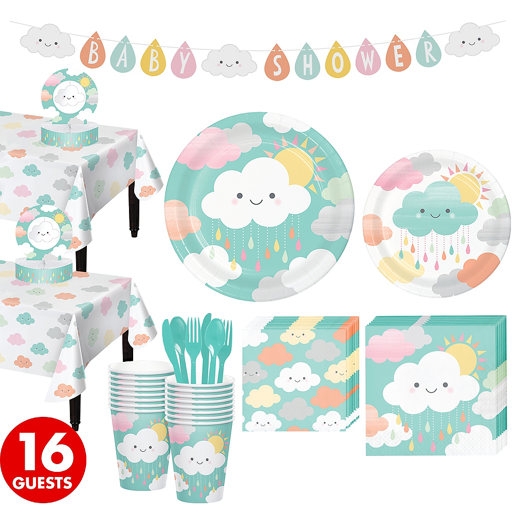 Happy Clouds Baby Shower Kit for 16 Guests Image #1