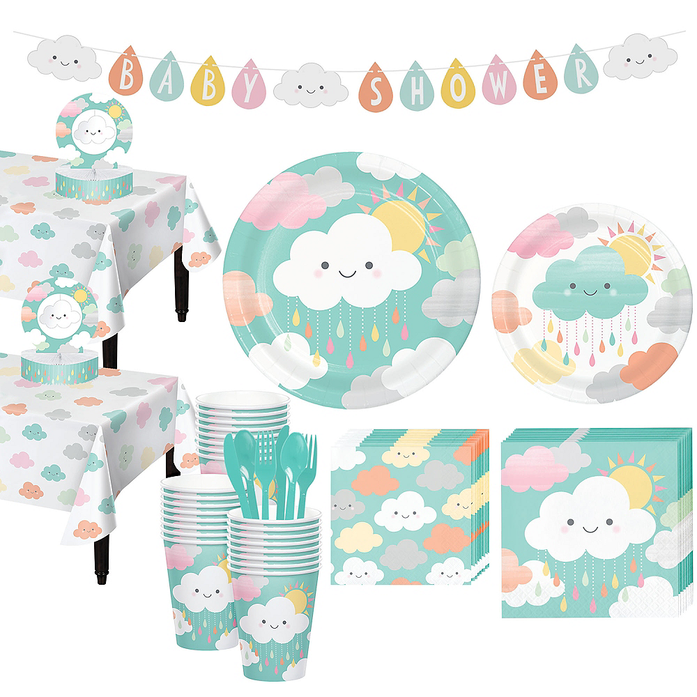 Happy Clouds Baby Shower Kit for 32 Guests Image #1