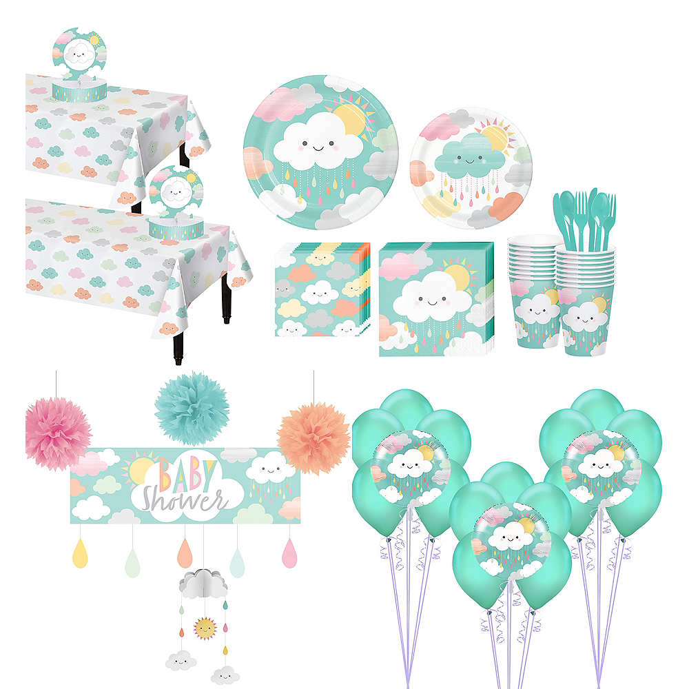 Ultimate Happy Clouds Baby Shower Kit for 32 Guests Image #1