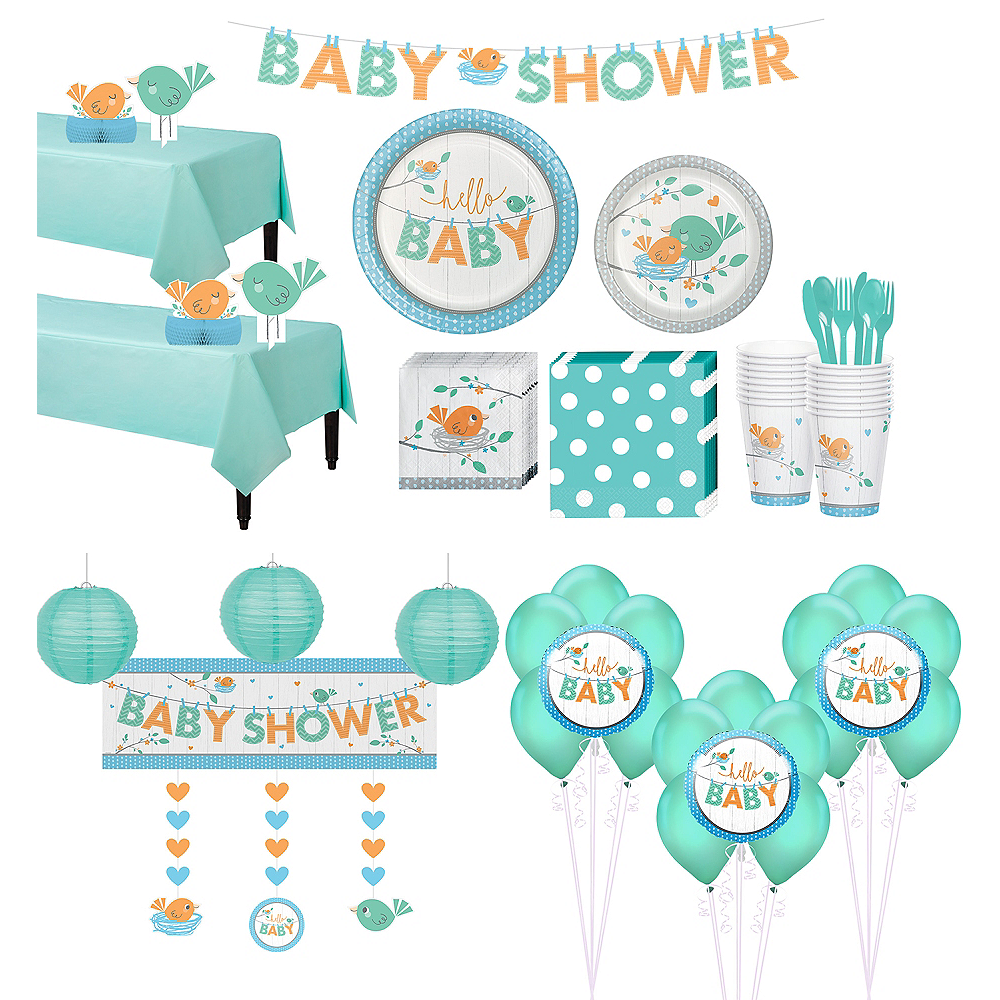 Ultimate Hello Boy Baby Shower Kit for 32 Guests Image #1