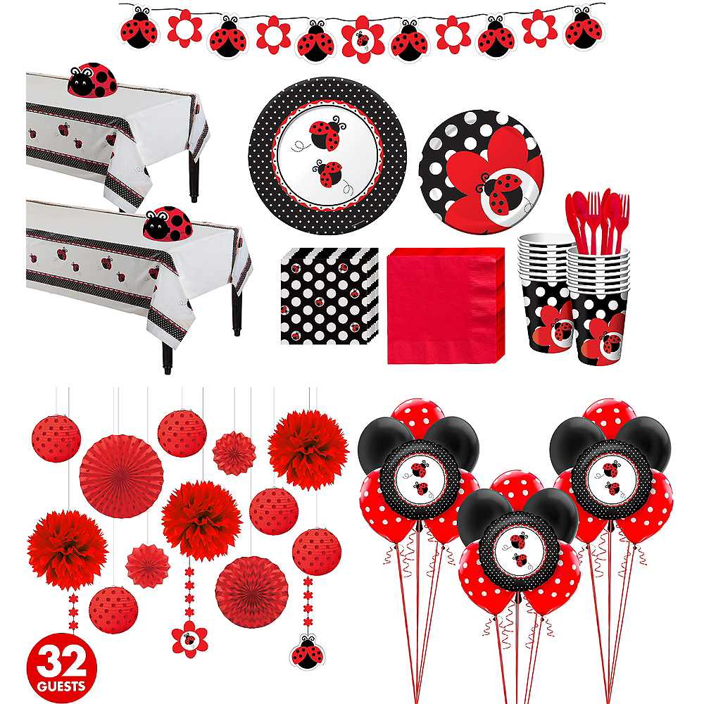 Ultimate Ladybug Baby Shower Kit for 32 Guests Image #1