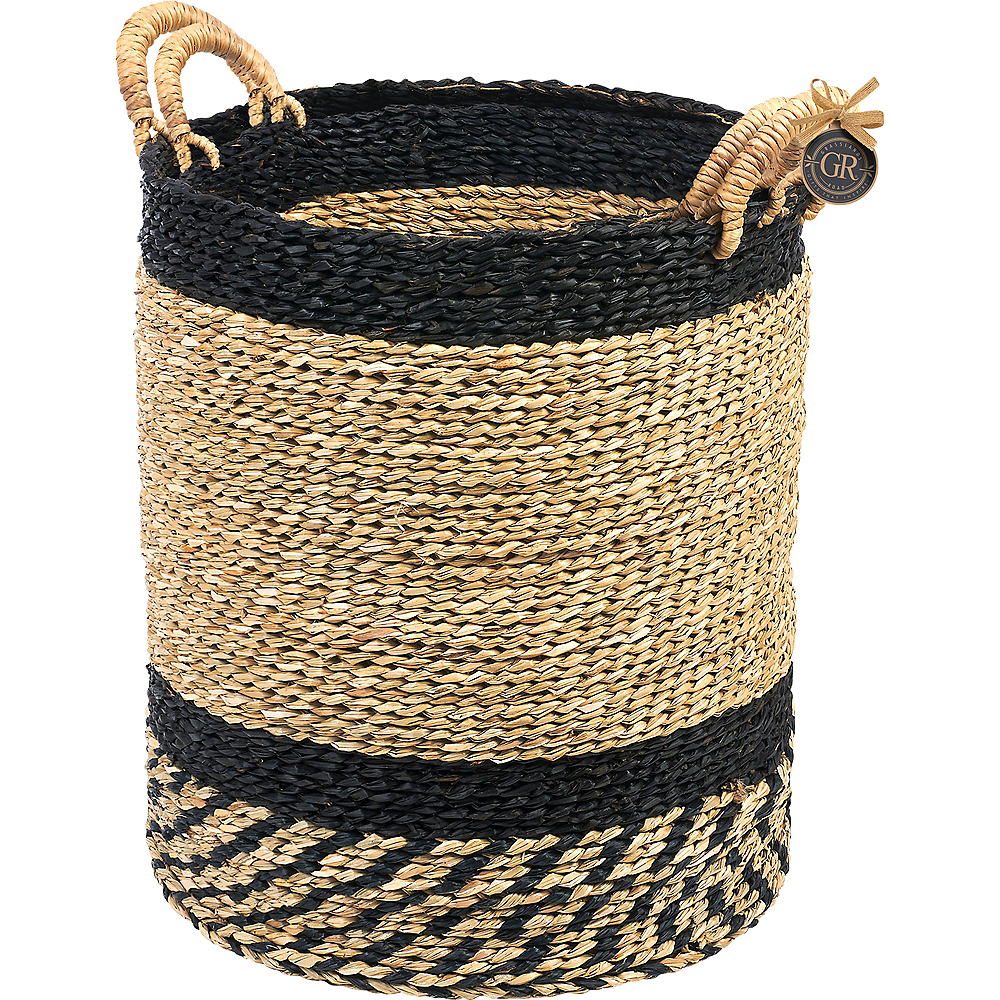 Black Striped Woven Baskets 2ct Image #2