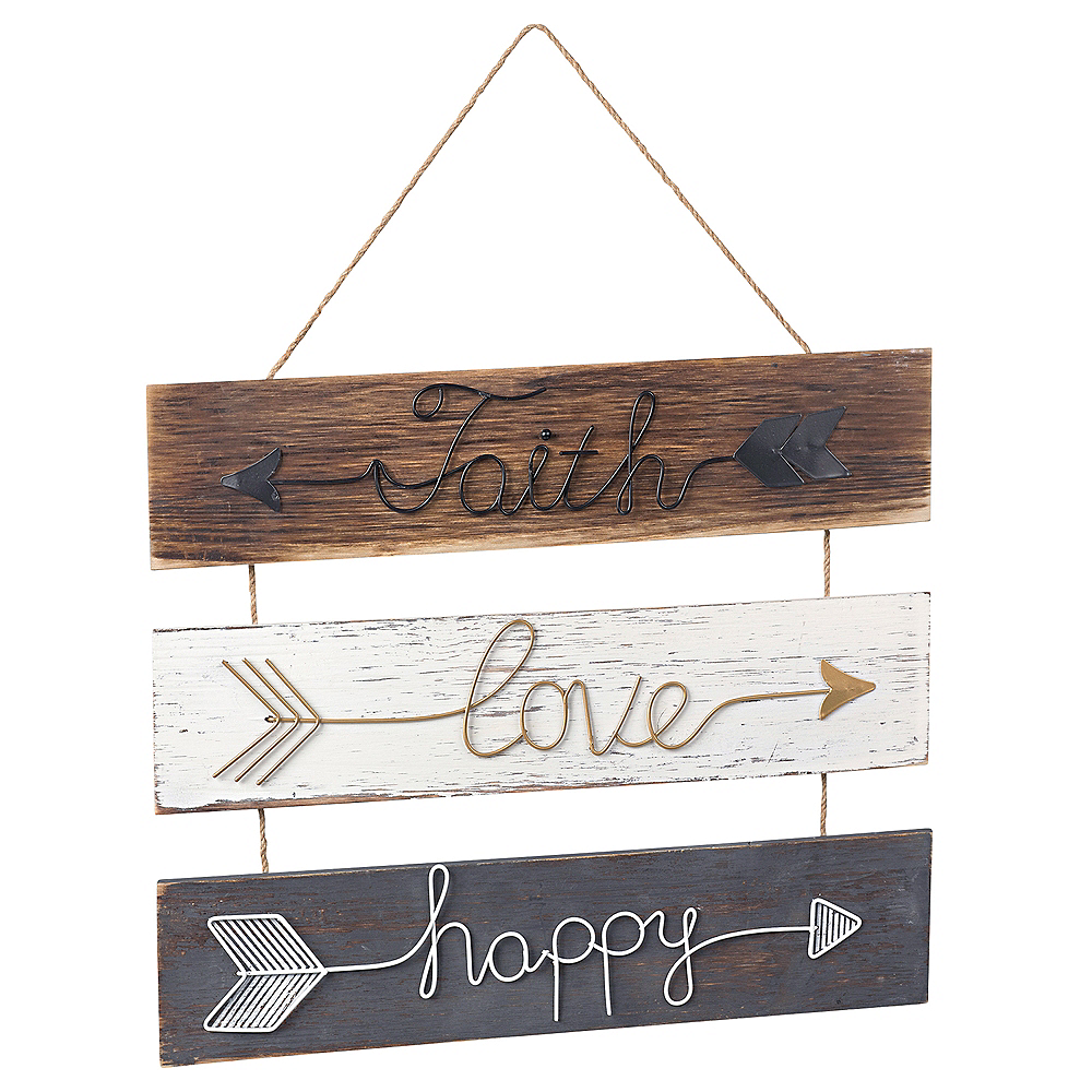 Faith, Love and Happy Stacked Sign Image #1