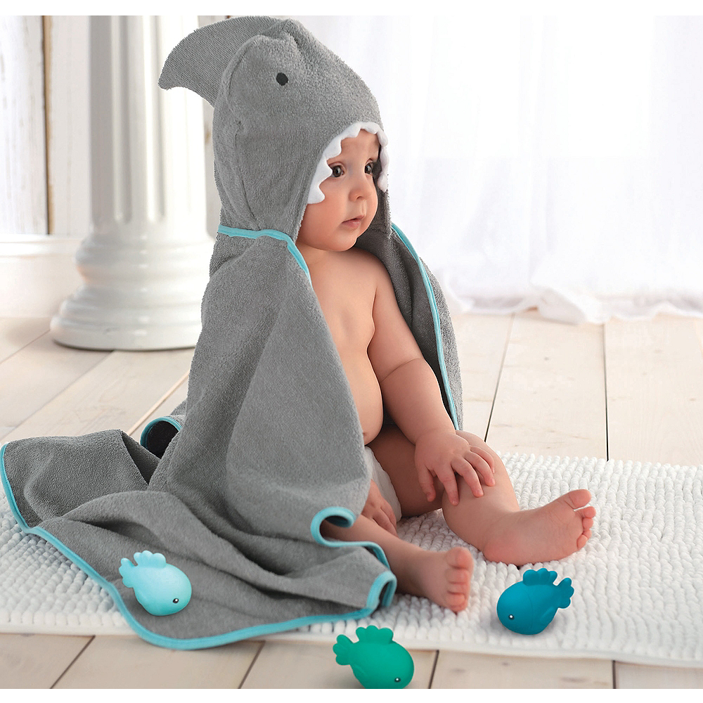 Hooded Shark Towel with Fish Bath Toys Image #1