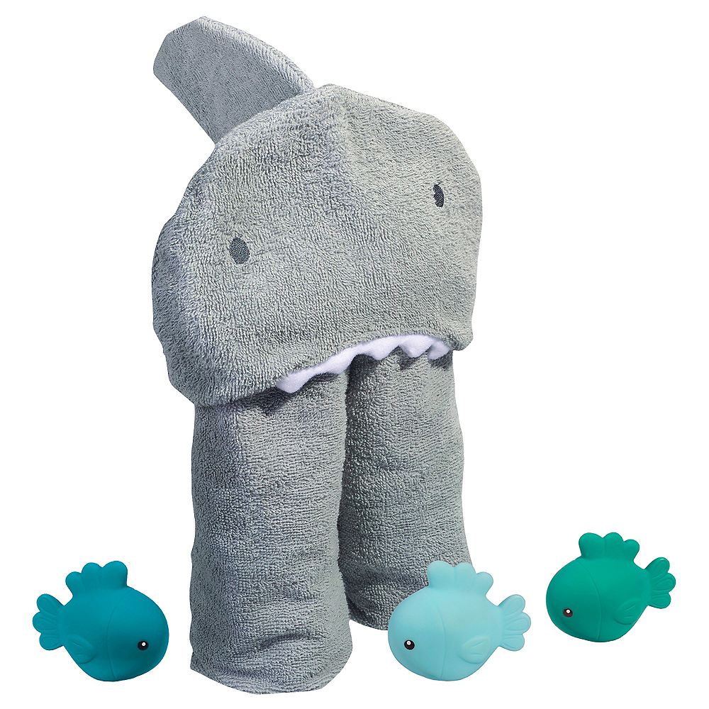 Hooded Shark Towel with Fish Bath Toys Image #2