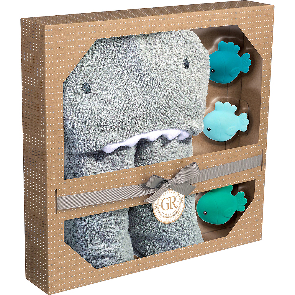 Hooded Shark Towel with Fish Bath Toys Image #3