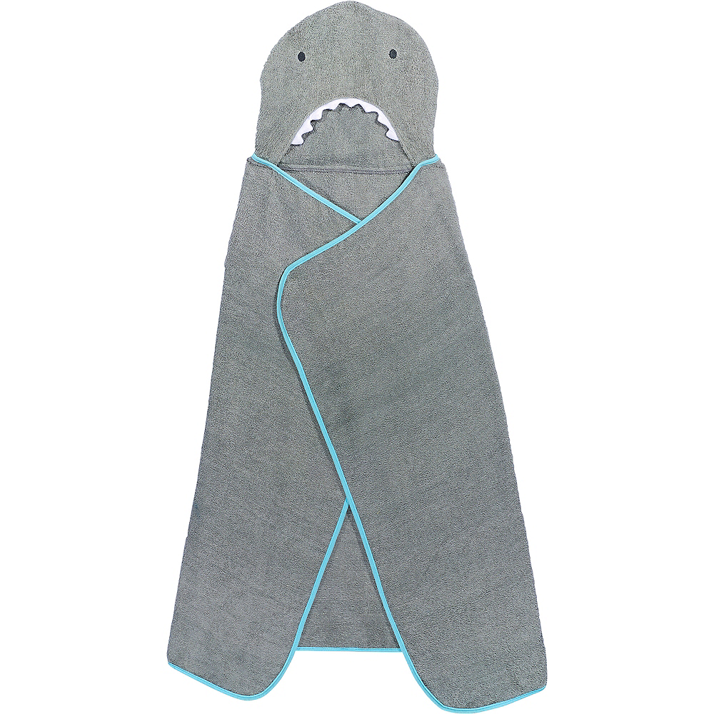Hooded Shark Towel with Fish Bath Toys Image #5
