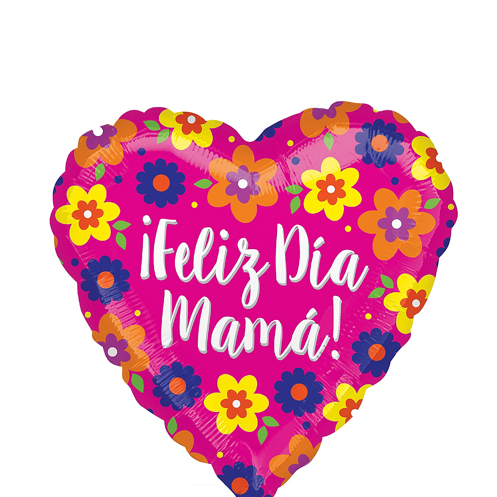Nav Item for Floral Feliz Dia Mama Heart Balloon, 17in Image #1