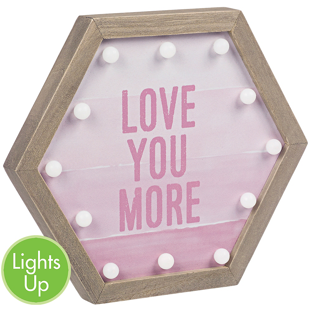Light-Up Pink Love You More Marquee Sign Image #1