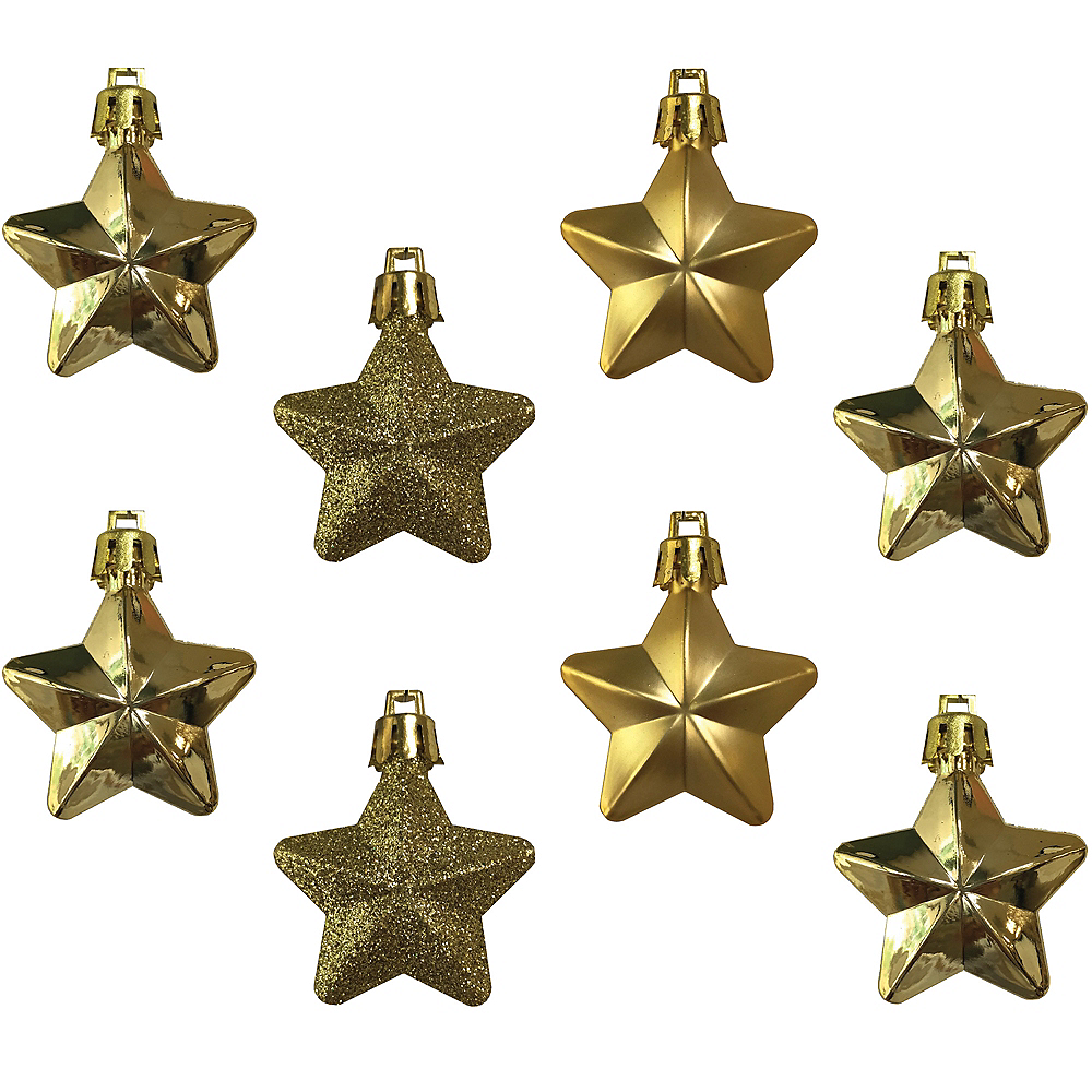 Gold Star Ornaments 8ct Image #1
