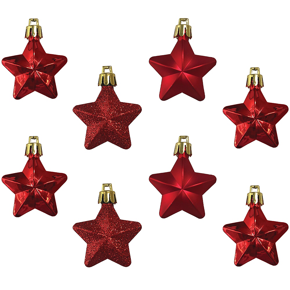Red Star Ornaments 8ct Image #1