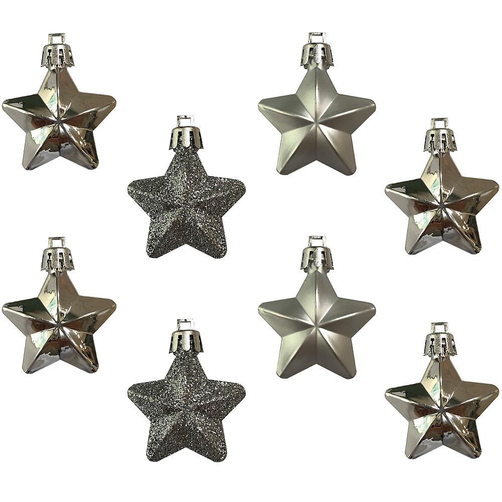 Silver Star Ornaments 8ct Image #1