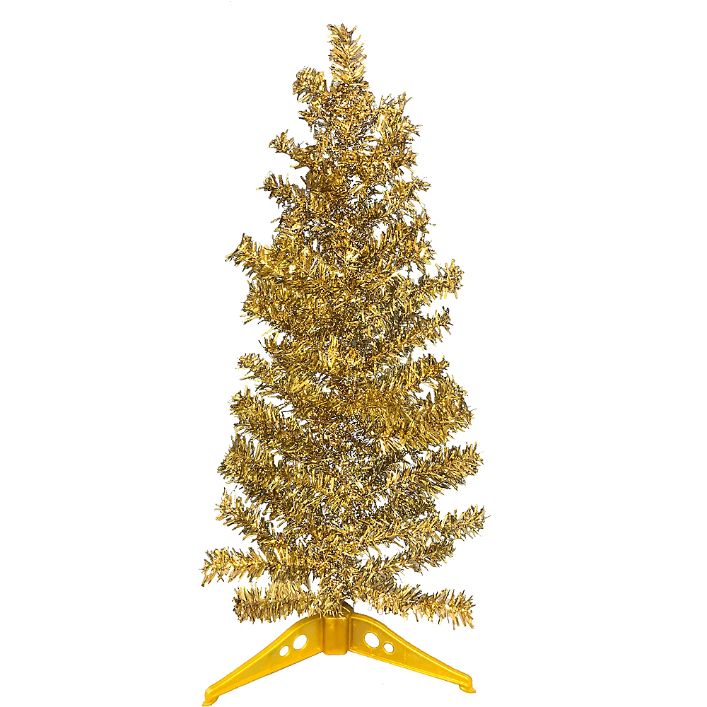 Mini Gold Tinsel Christmas Tree Image 1