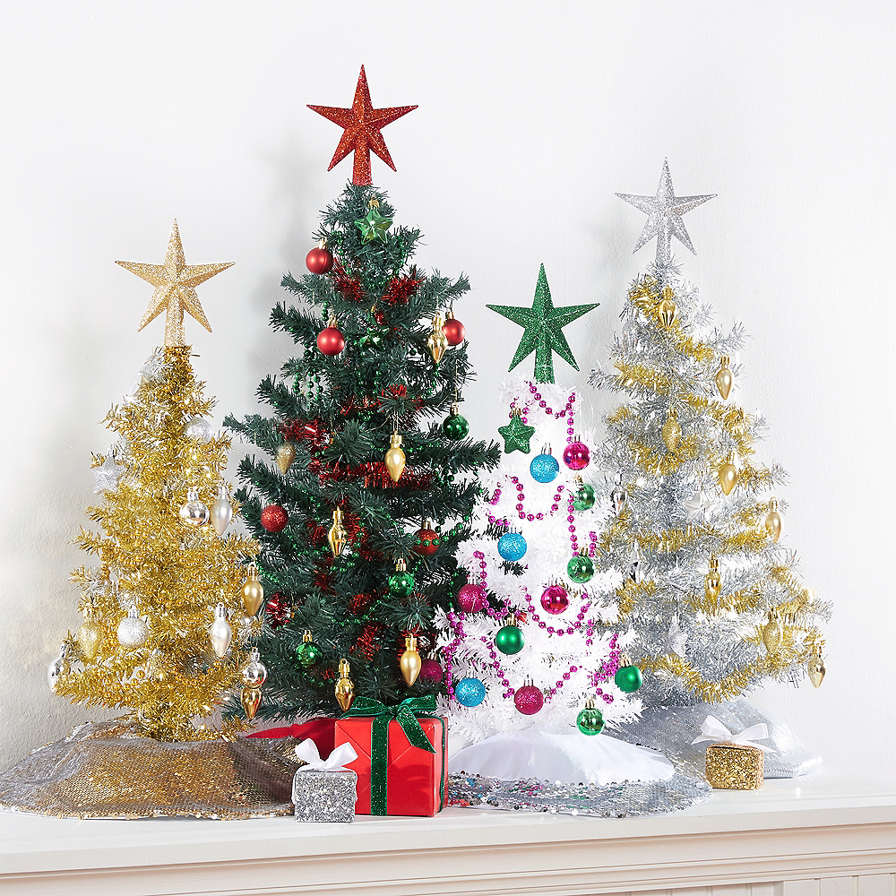 Tinsel Christmas Tree.Mini White Tinsel Christmas Tree