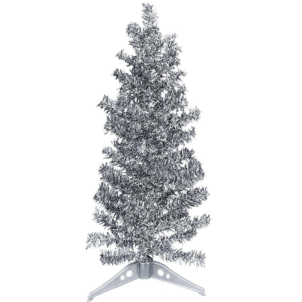 mini silver tinsel christmas tree image 1