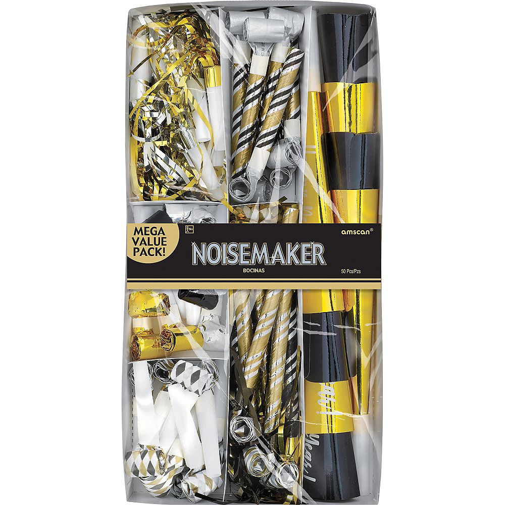 Black, Gold & Silver New Year's Eve Party Horns & Blowouts 50pc Image #2