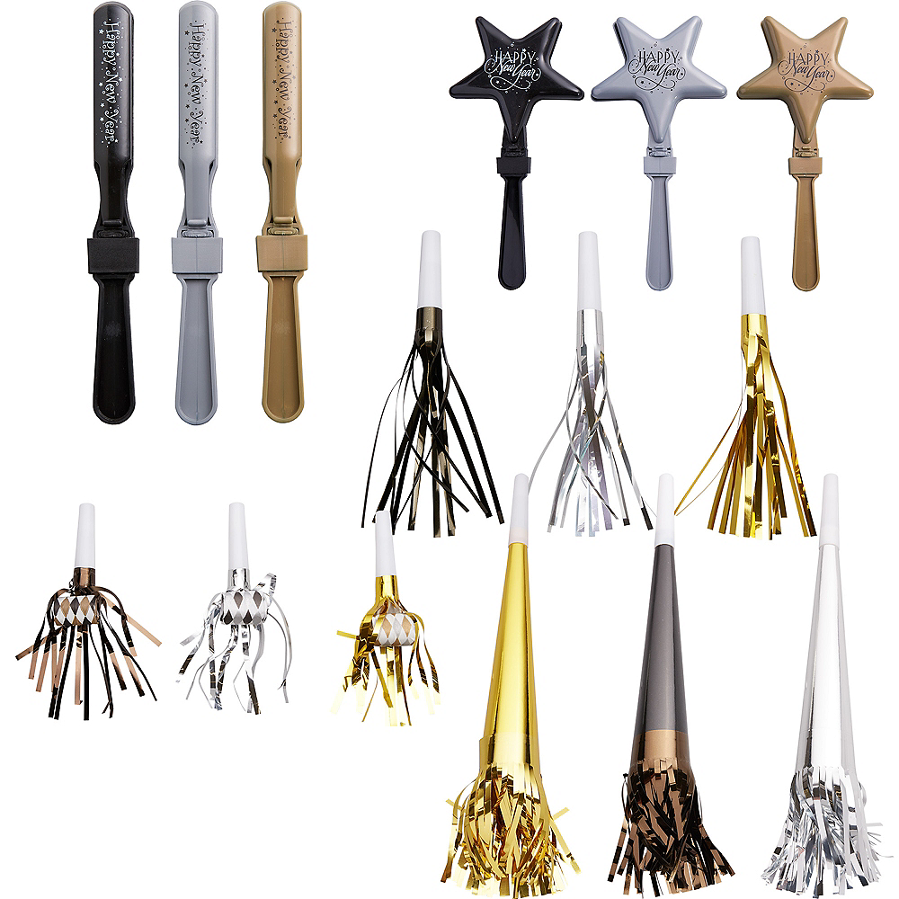 Black, Gold & Silver New Year's Eve Noisemakers 50pc Image #1