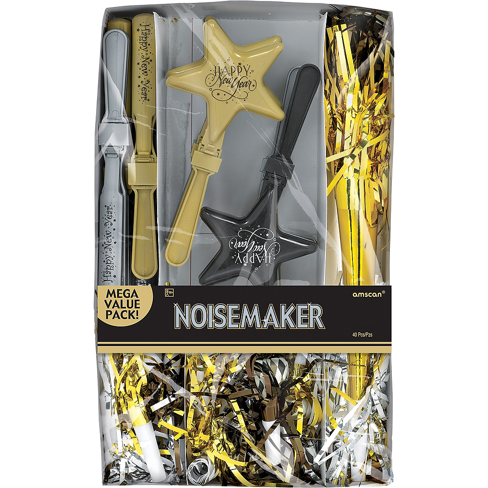 Black, Gold & Silver New Year's Eve Noisemakers 50pc Image #2