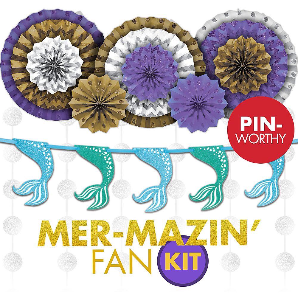 Mermaid Fan Wall Decorating Kit Image 1