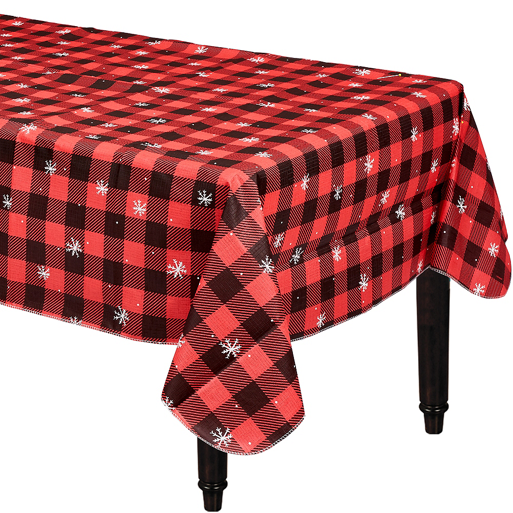 Buffalo Plaid Snowflake Flannel-Backed Vinyl Tablecloth Image #1