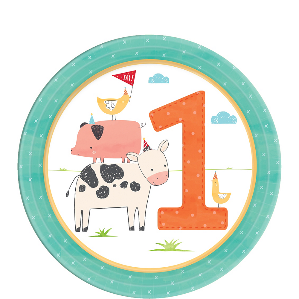 Friendly Farm 1st Birthday Dessert Plates 18ct Image #1