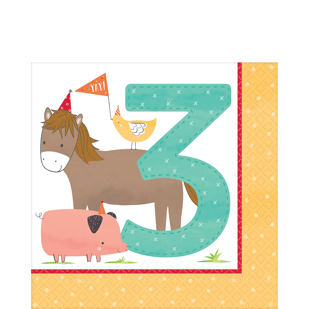 Friendly Farm 3rd Birthday Lunch Napkins 36ct Image #1