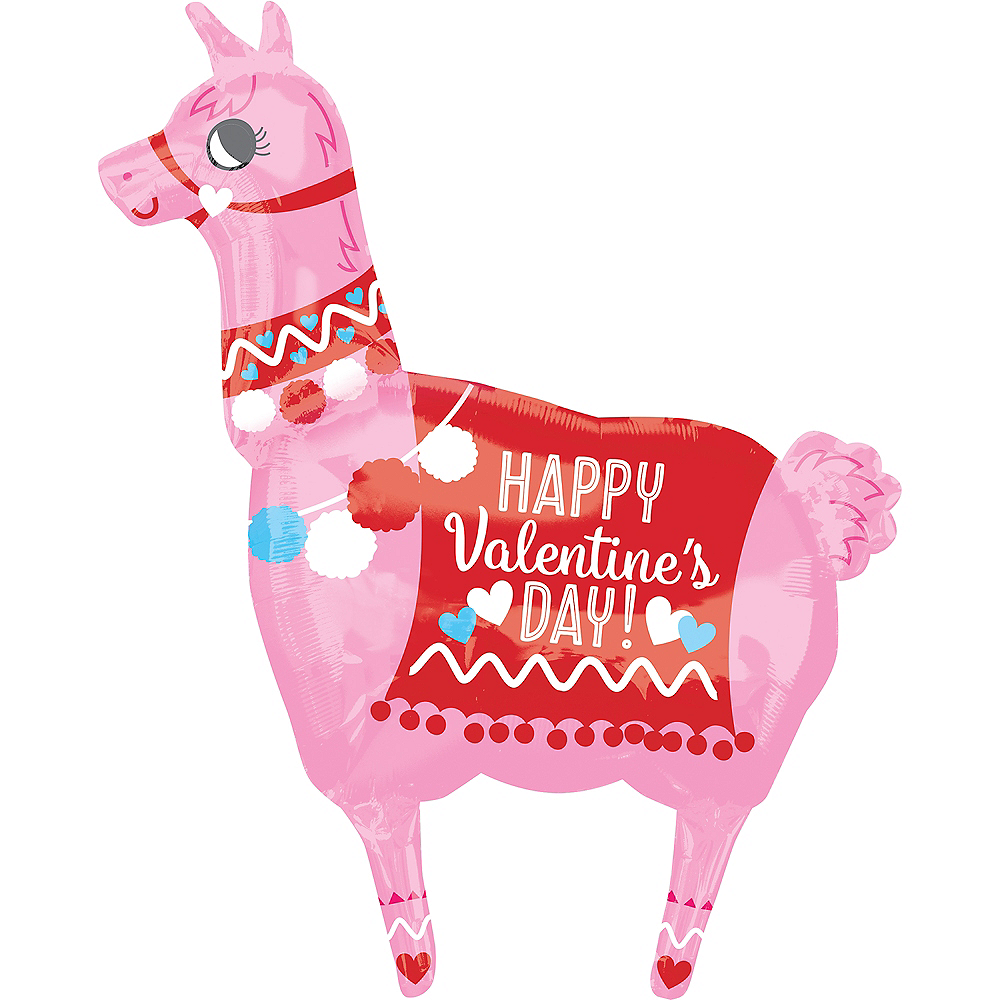 Giant Valentine's Day Llama Balloon, 28in Image #1