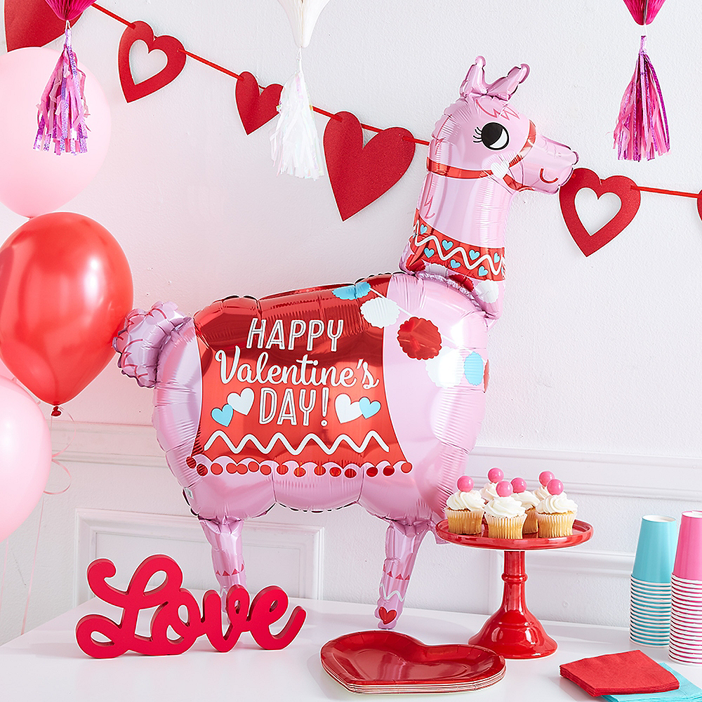 Giant Valentine's Day Llama Balloon, 28in Image #2
