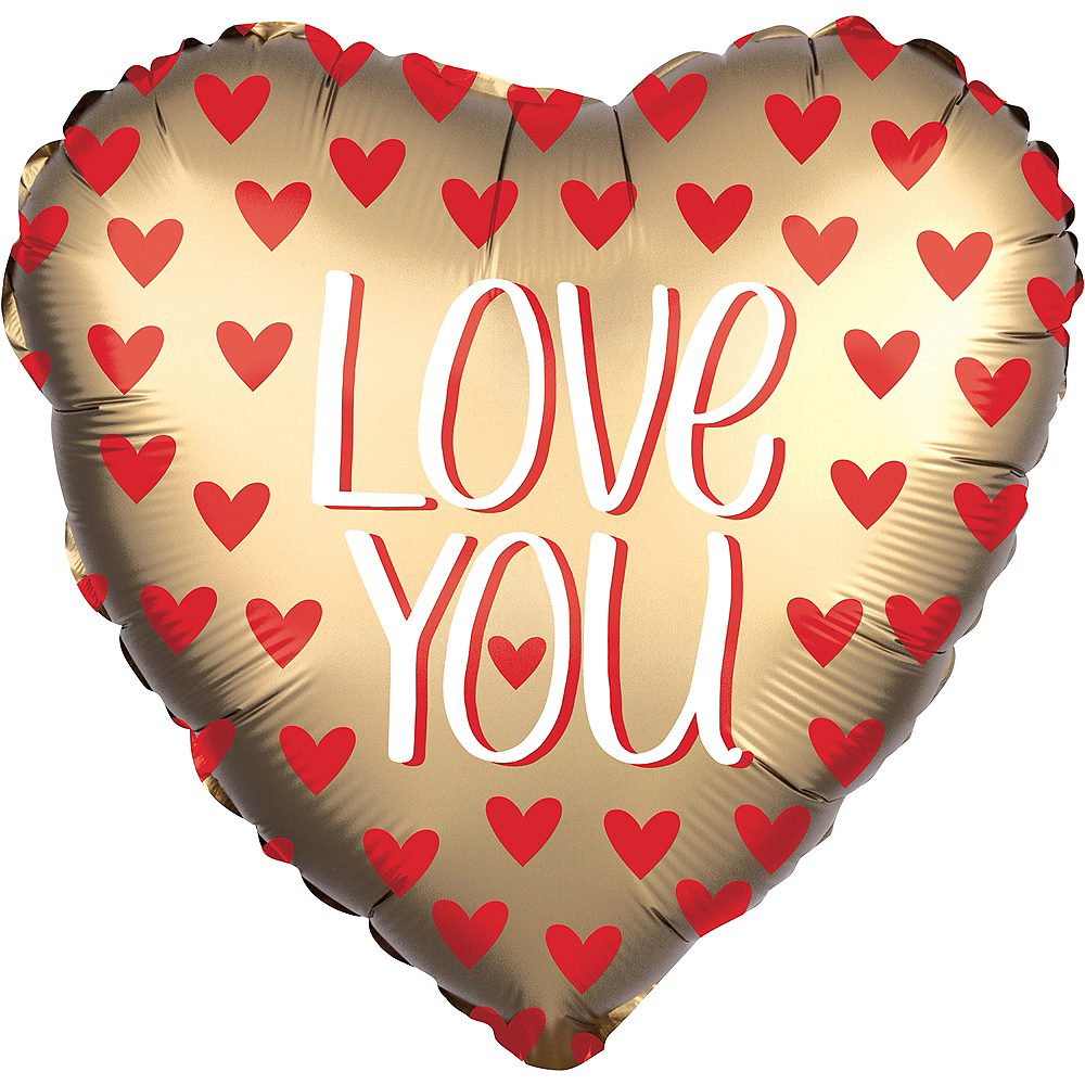 Giant Gold Love You Satin Heart Balloon, 28in Image #1