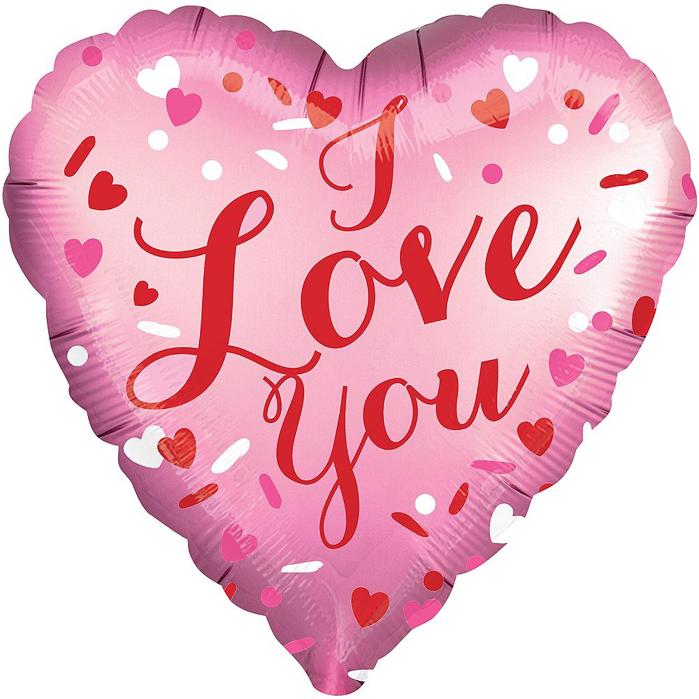 Pink I Love You Satin Heart Balloon Image #1