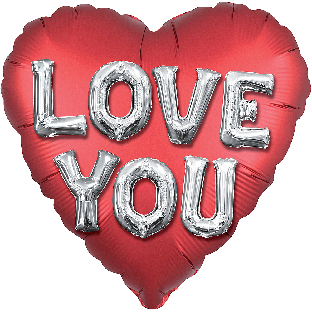 Red Love You Satin Heart Balloon Image #1