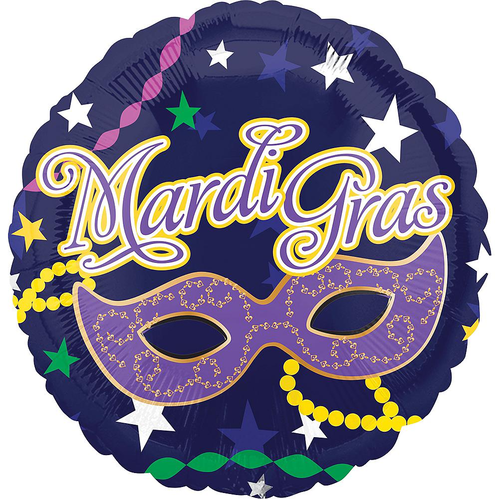 Masquerade Mask Mardi Gras Balloon, 17in Image #1