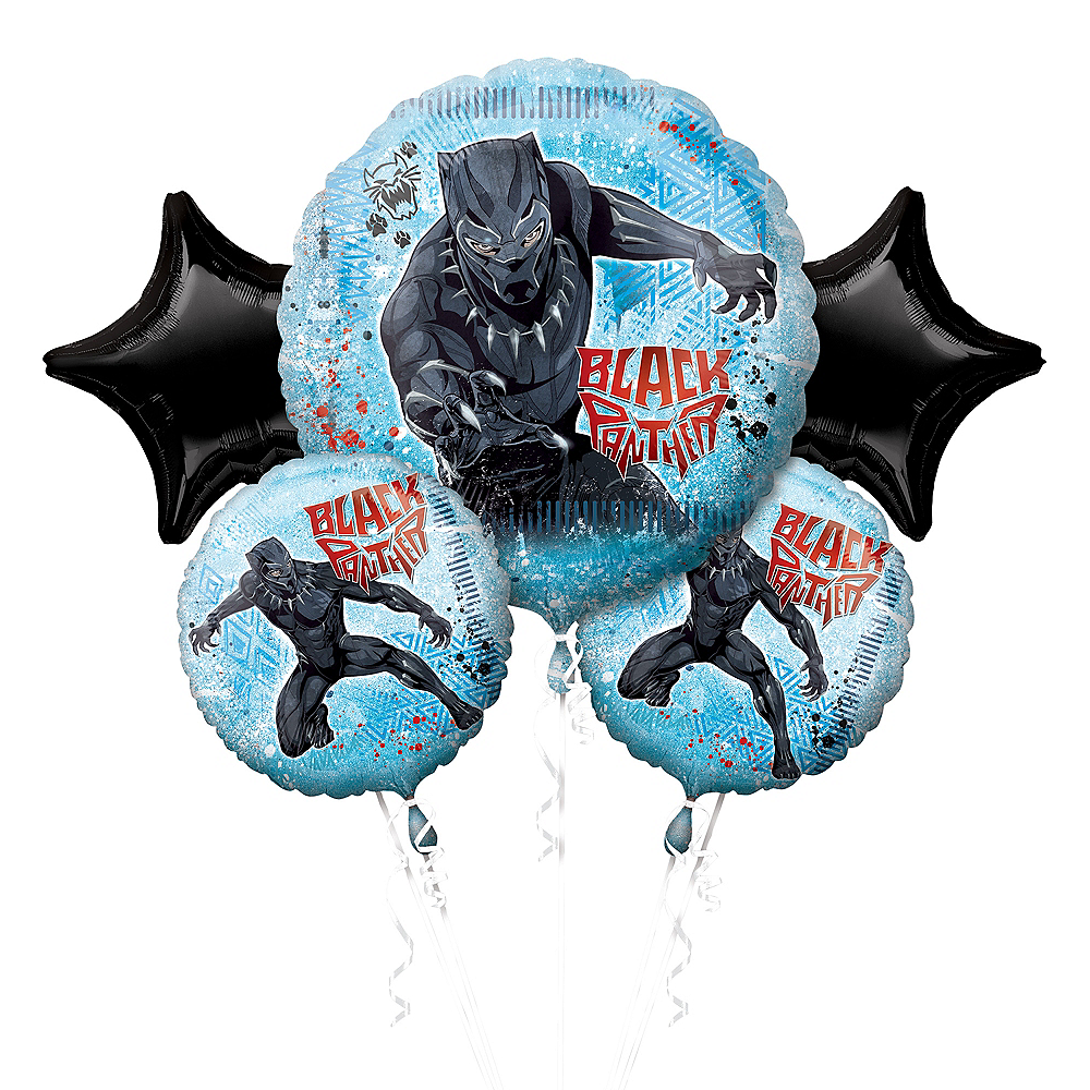 Black Panther Balloon Bouquet 5pc Image #1