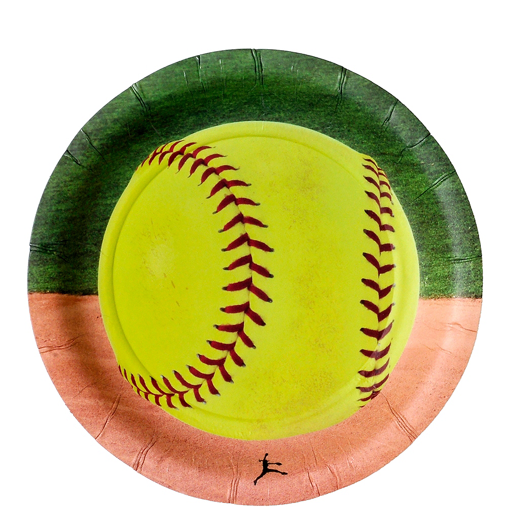 Fastpitch Softball Dessert Plates 8ct Image #1
