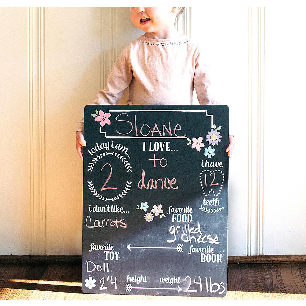 Baby Girl Milestones Chalkboard Sign Image #1
