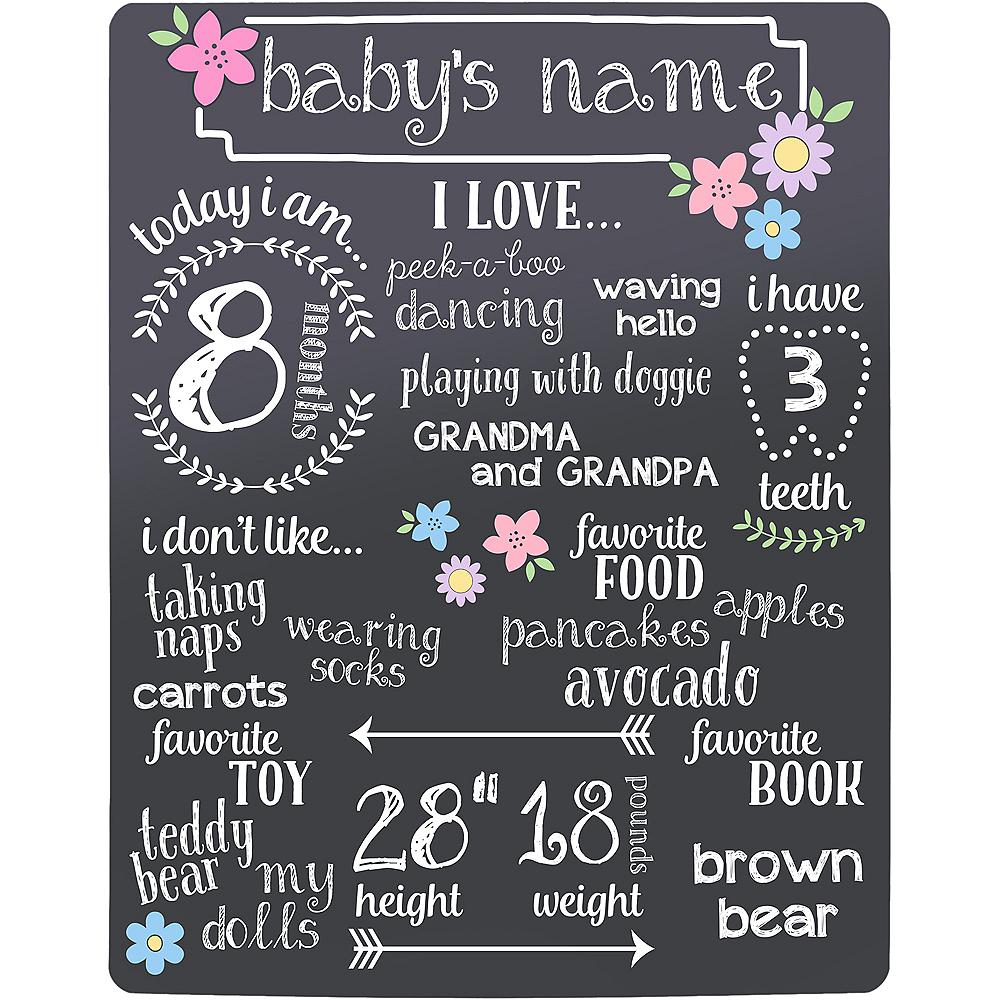 Baby Girl Milestones Chalkboard Sign Image #2