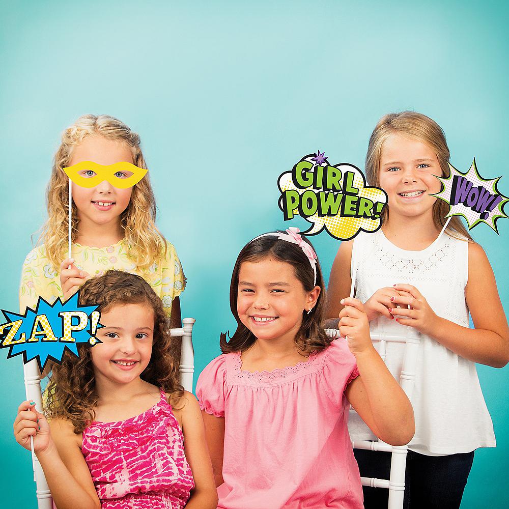 Girls Superhero Photo Booth Props 10ct Image #2