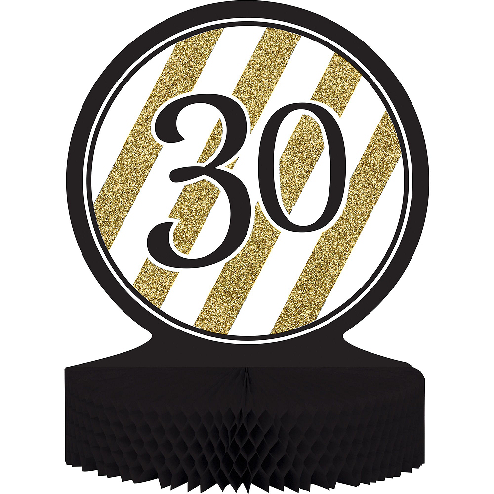 White & Gold Striped 30th Birthday Party Kit for 16 Guests Image #8