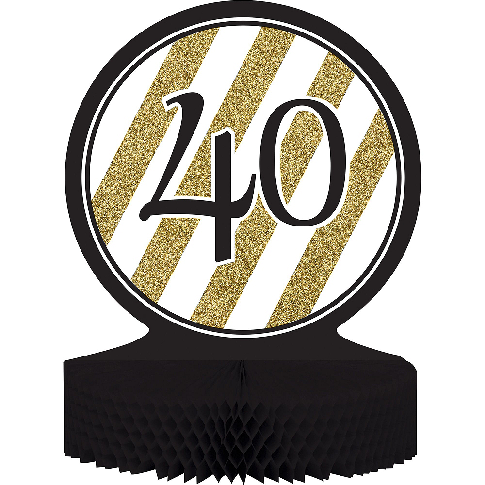 White & Gold Striped 40th Birthday Party Kit for 16 Guests Image #8