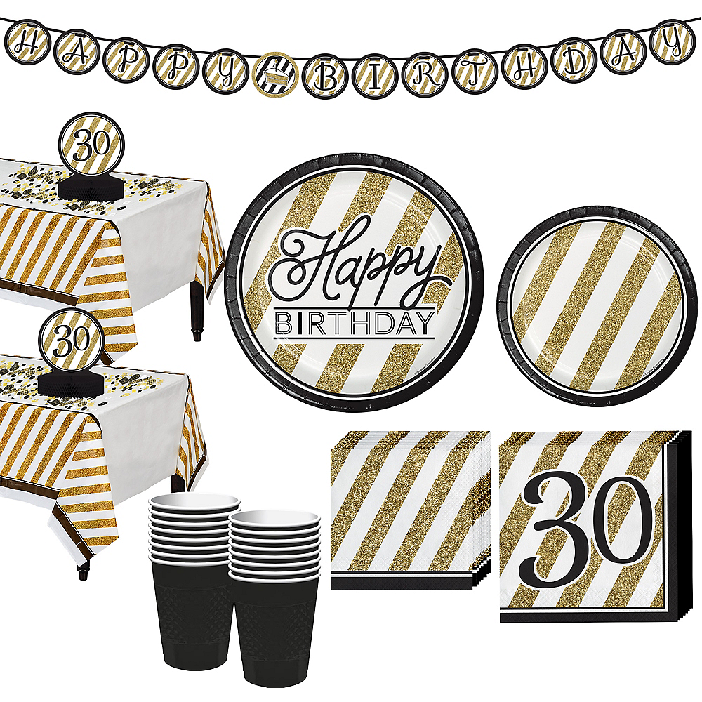 White & Gold Striped 30th Birthday Party Kit for 32 Guests Image #1