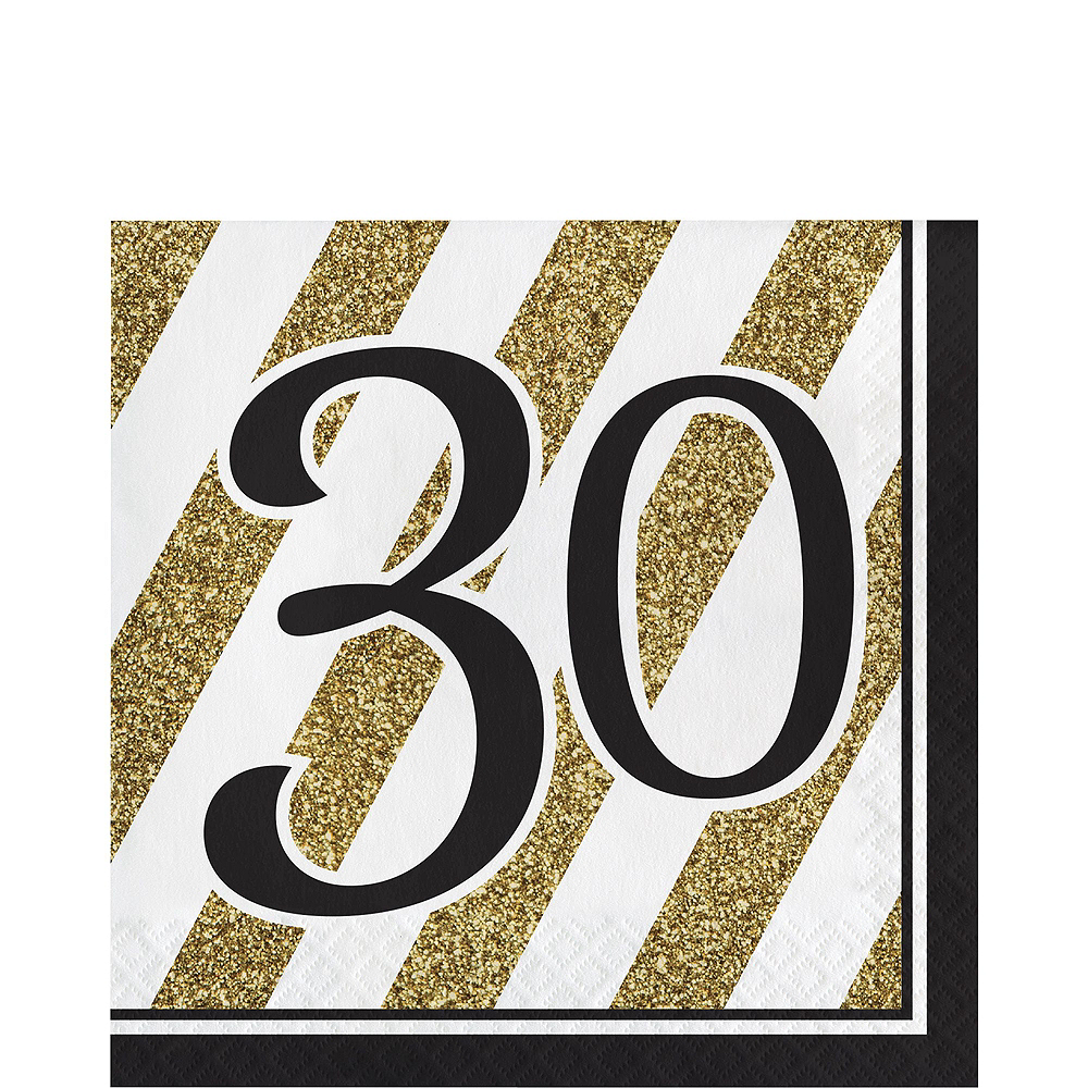 White & Gold Striped 30th Birthday Party Kit for 32 Guests Image #5