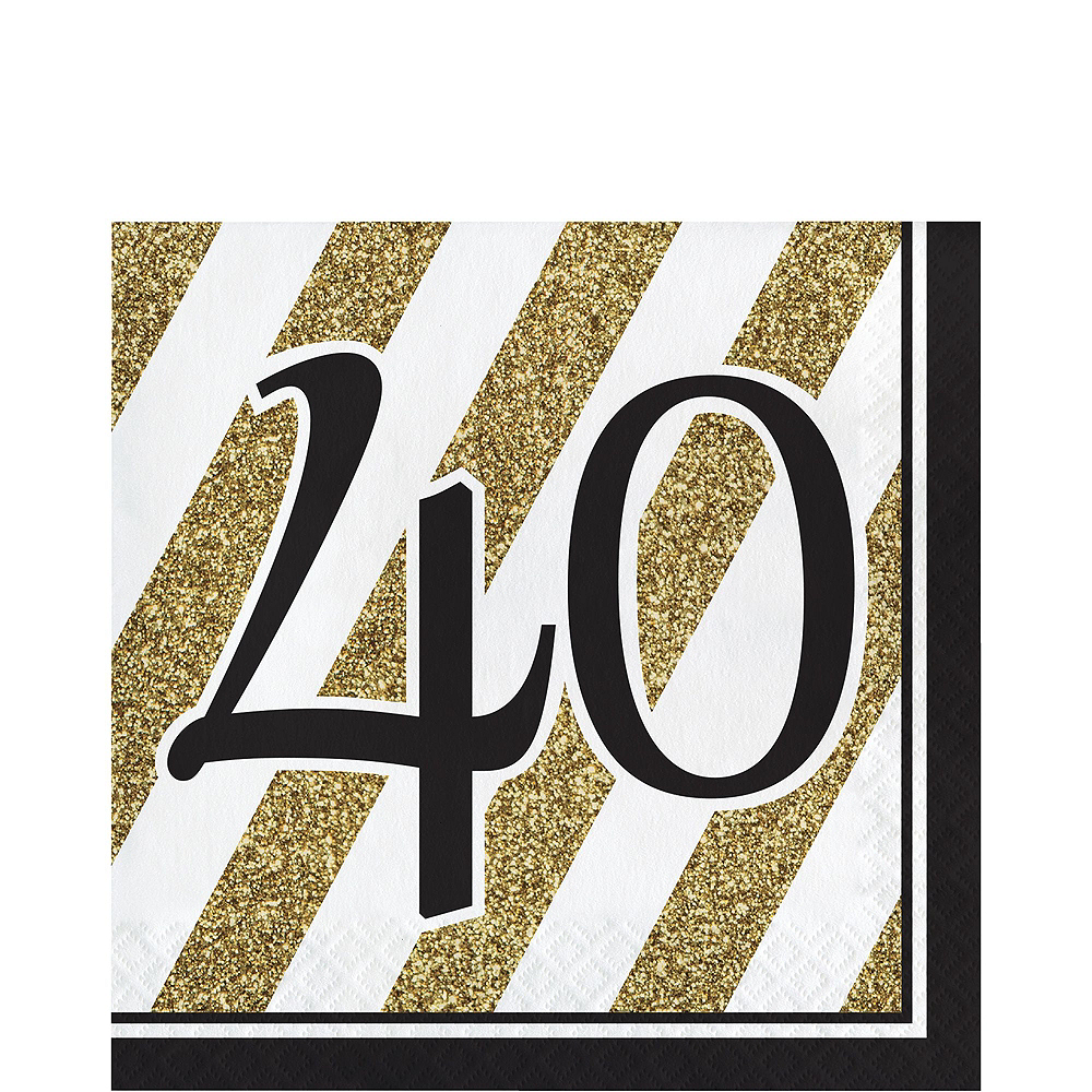 White & Gold Striped 40th Birthday Party Kit for 32 Guests Image #5