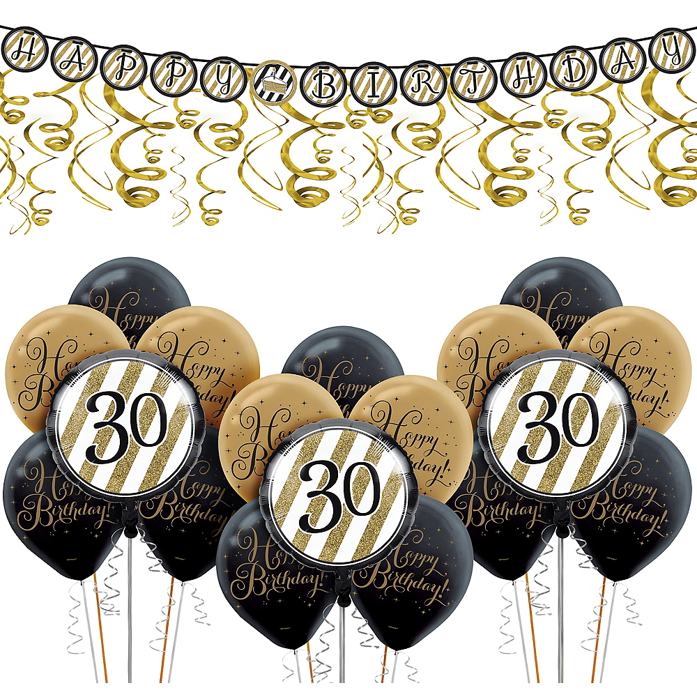 Nav Item For White Gold Striped 30th Birthday Decorating Kit With Balloons Image