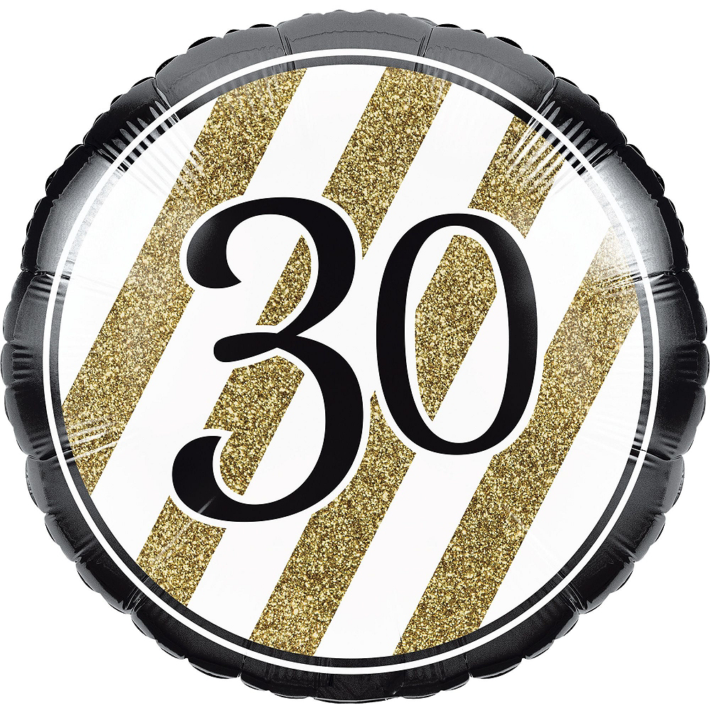 White & Gold Striped 30th Birthday Decorating Kit with Balloons Image #3