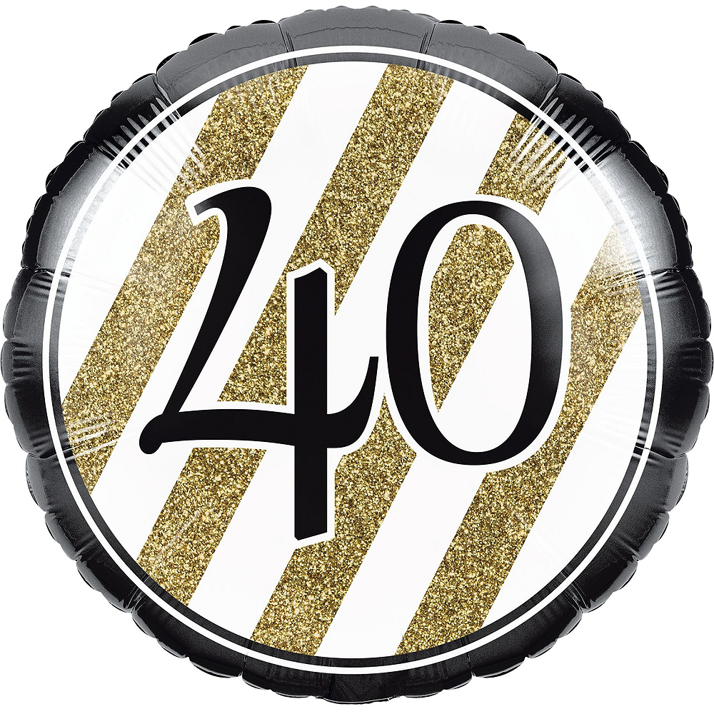 White & Gold Striped 40th Birthday Decorating Kit with Balloons Image #3