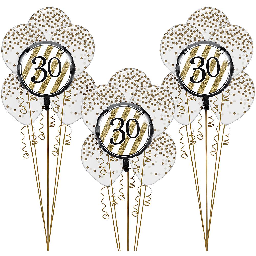 White & Gold Striped 30th Birthday Balloon Kit Image #1