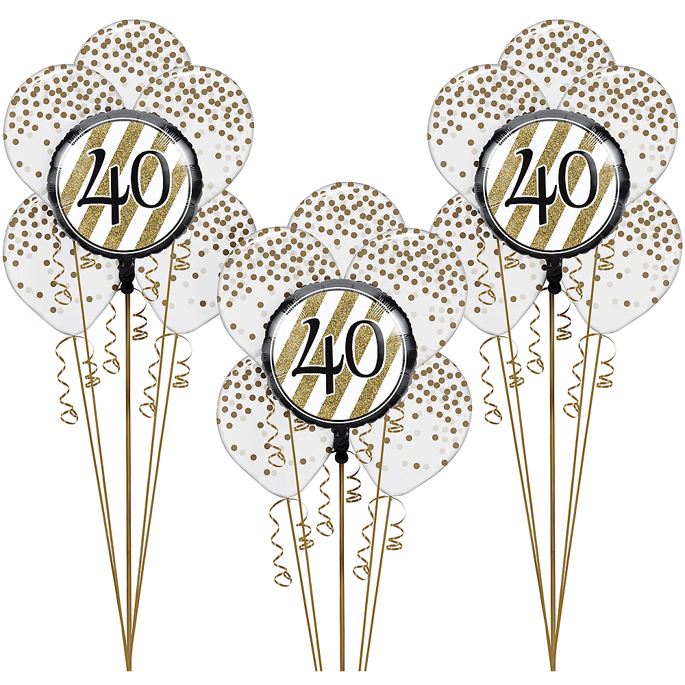 Nav Item for White & Gold Striped 40th Birthday Balloon Kit Image #1