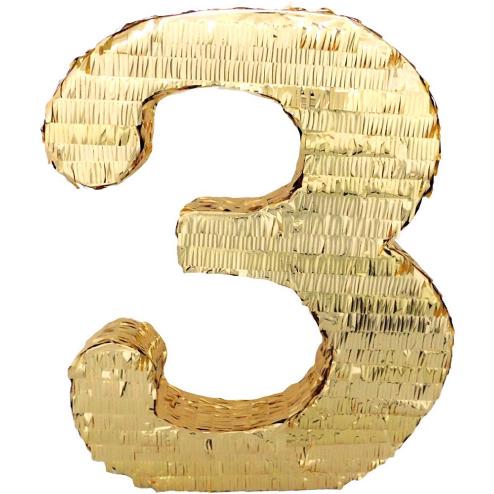 Gold Number 3 Pinata Image #1